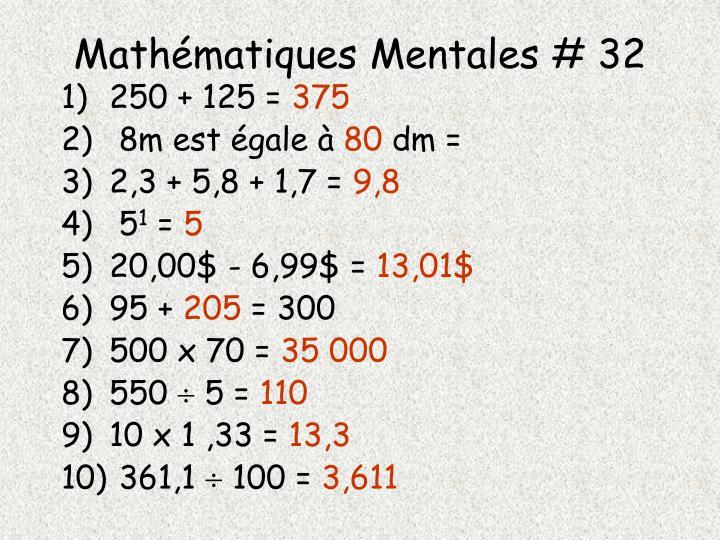 Mathématiques Mentales # 32