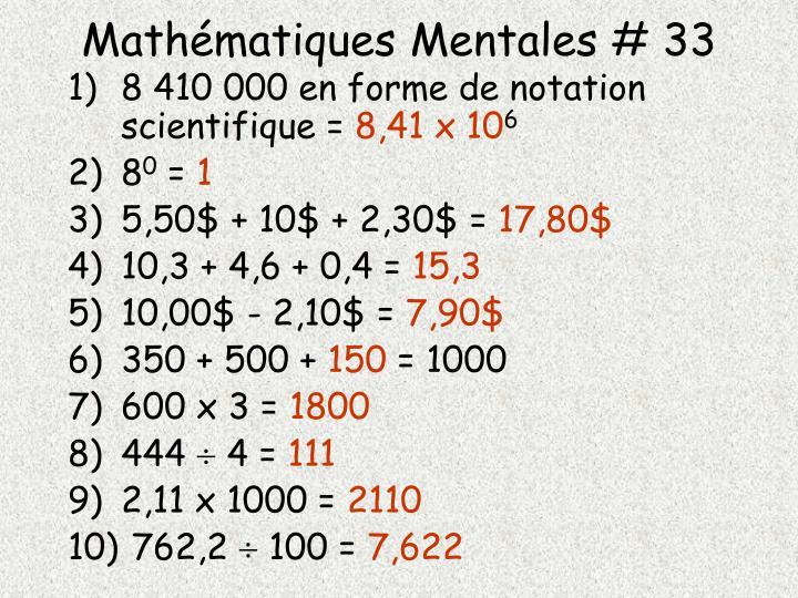 Mathématiques Mentales # 33