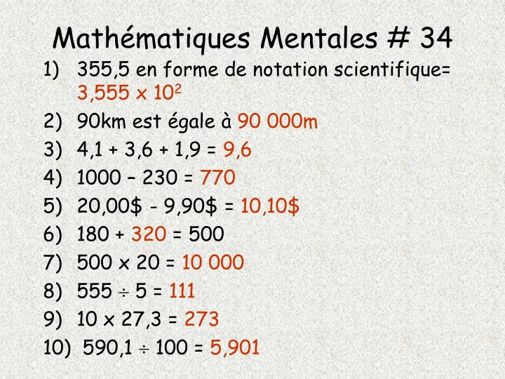 Mathématiques Mentales # 34