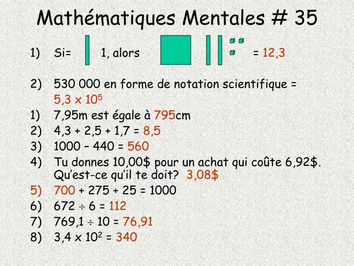 Mathématiques Mentales # 35