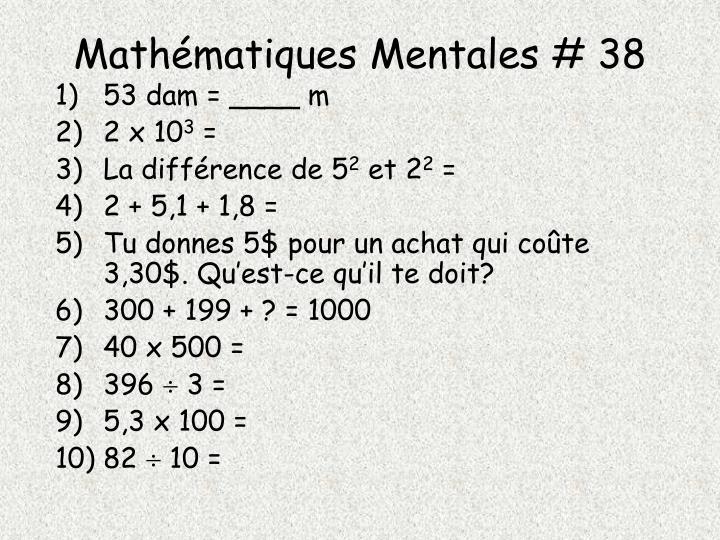 Mathématiques Mentales # 38