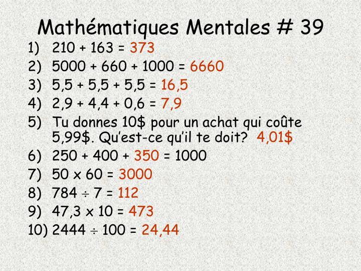 Mathématiques Mentales # 39