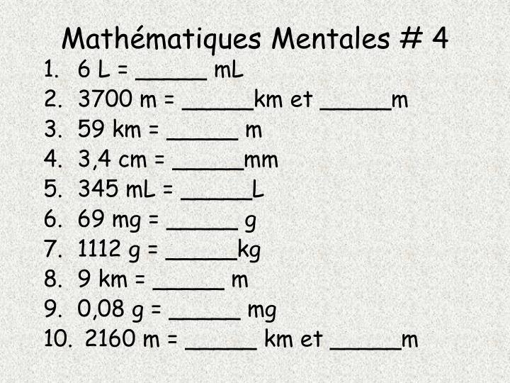 Mathématiques Mentales # 4