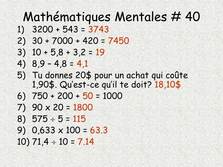 Mathématiques Mentales # 40