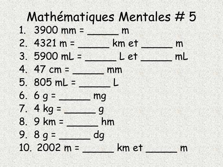 Mathématiques Mentales # 5