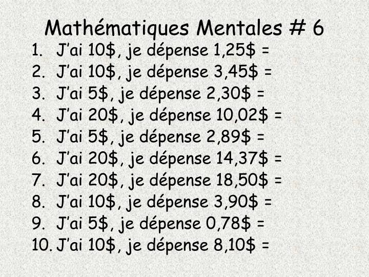 Mathématiques Mentales # 6