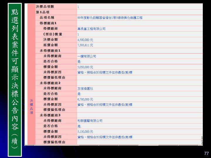 點選列表案件可顯示決標公告內容