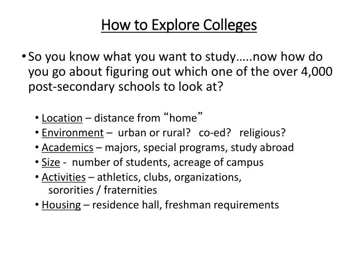 How to Explore Colleges