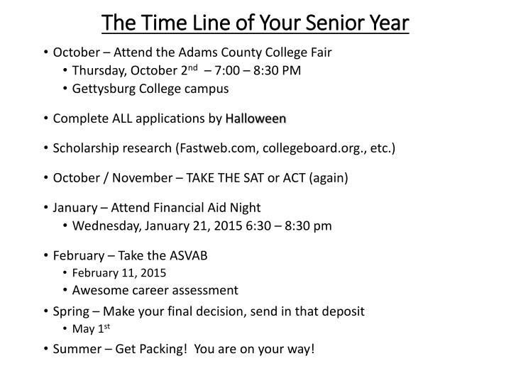 The Time Line of Your Senior Year