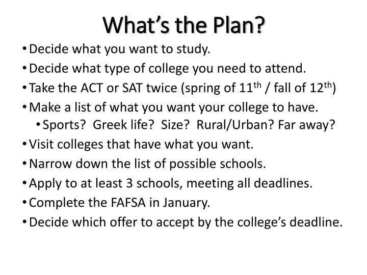 What's the Plan?