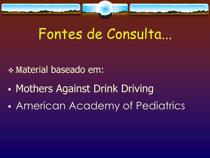 Fontes de Consulta...