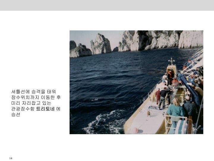 셔틀선에 승객을 태워 잠수위치까지 이동한 후  미리 자리잡고 있는 관광잠수함