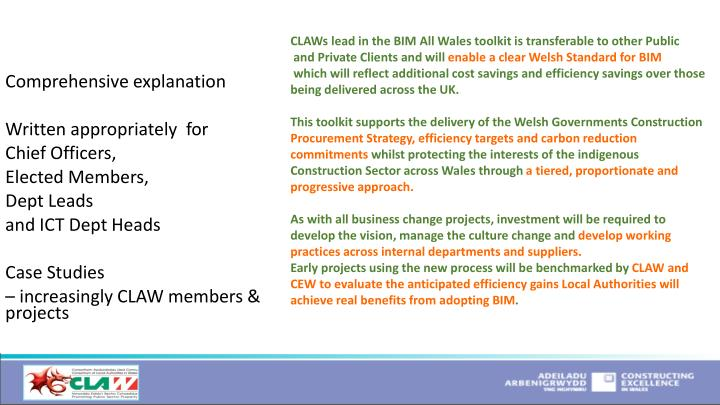 CLAWs lead in the BIM All Wales toolkit is transferable to other Public