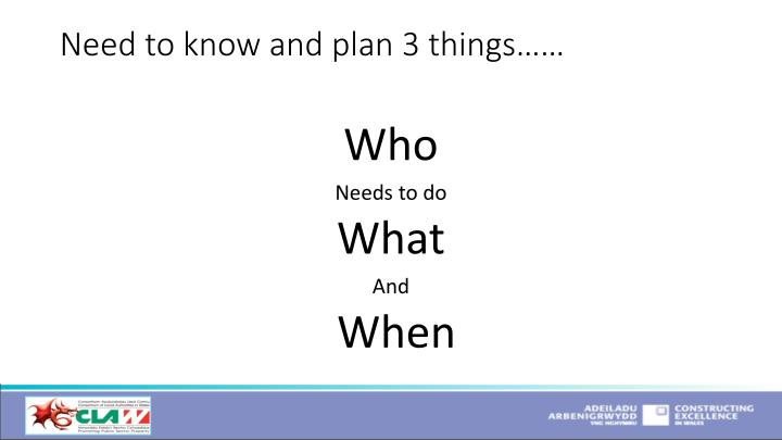Need to know and plan 3 things……