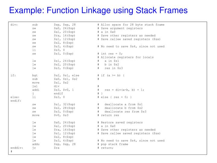 Example: Function Linkage using Stack Frames