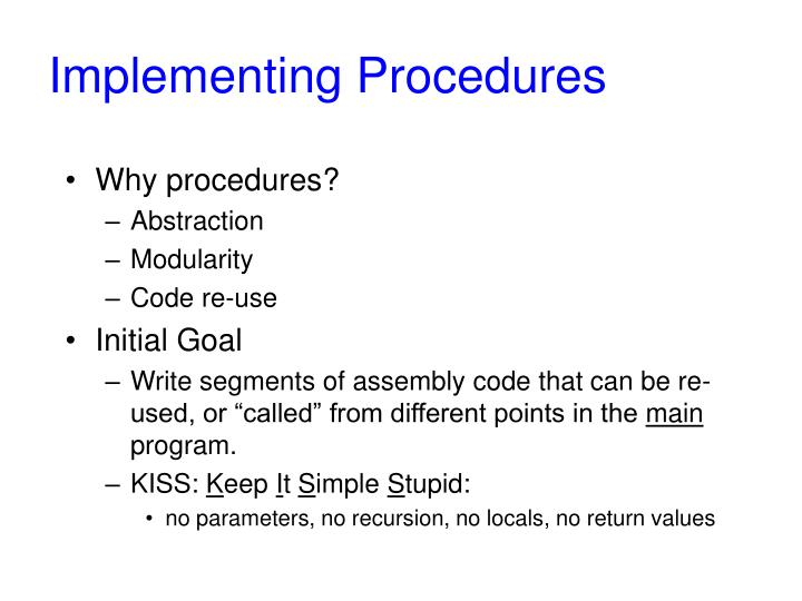 Implementing procedures
