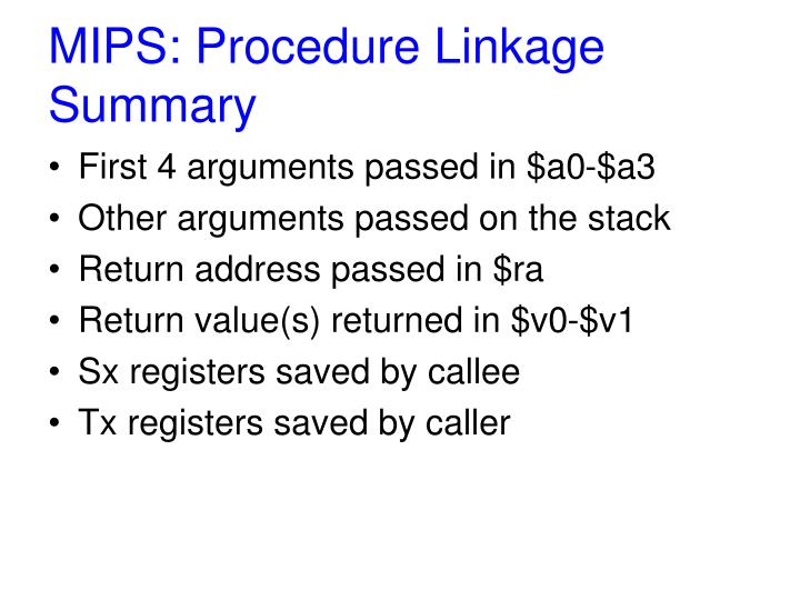 MIPS: Procedure Linkage