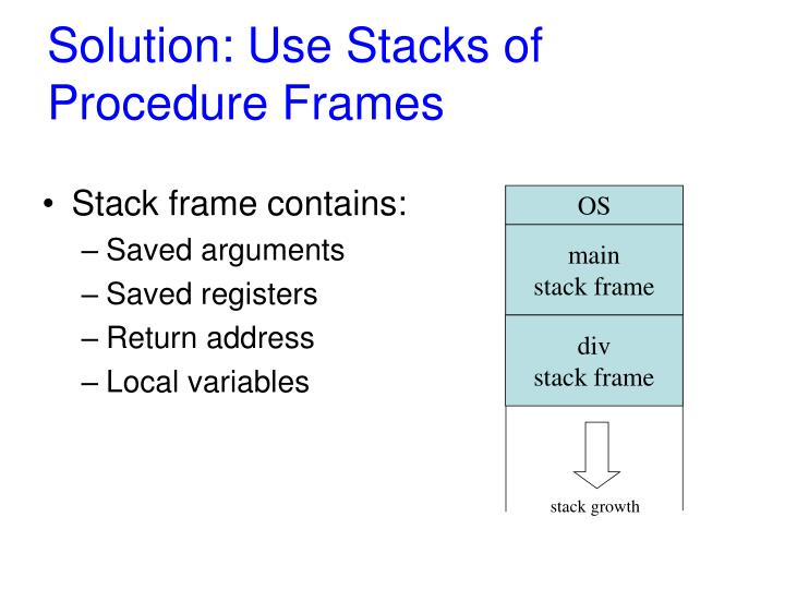 Solution: Use Stacks of Procedure Frames
