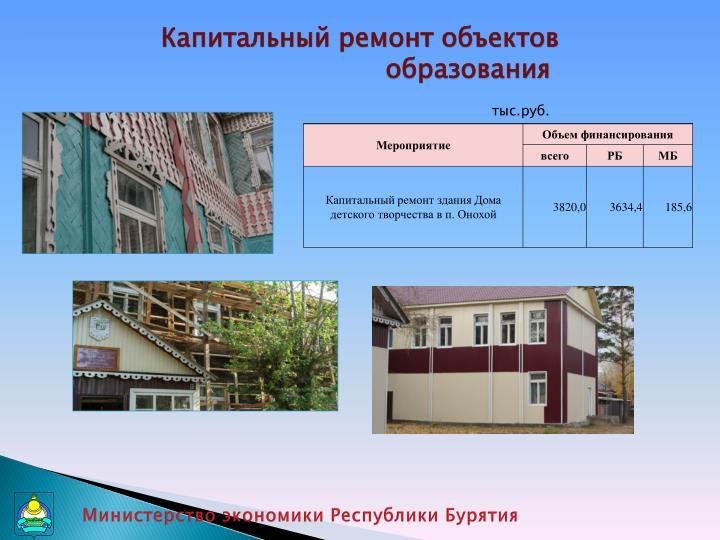 Капитальный ремонт объектов