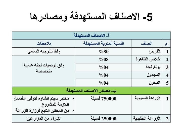 5- الاصناف المستهدفة ومصادرها