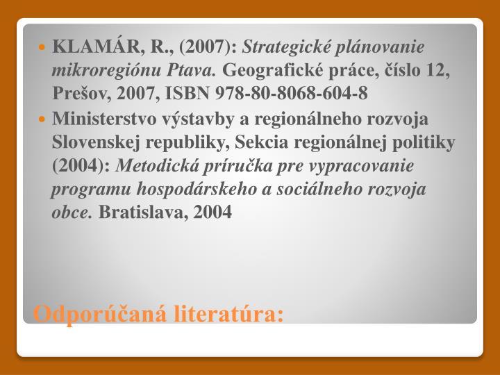 KLAMÁR, R., (2007):