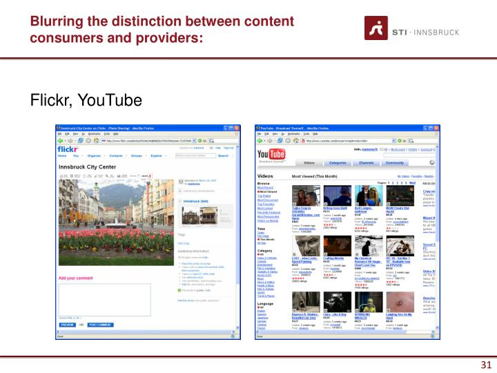 Blurring the distinction between content consumers and providers:
