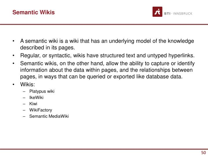 Semantic Wikis