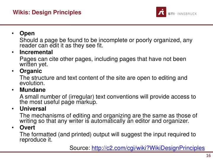 Wikis: Design Principles