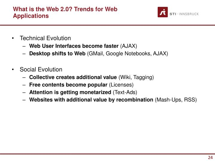 What is the Web 2.0? Trends for Web Applications