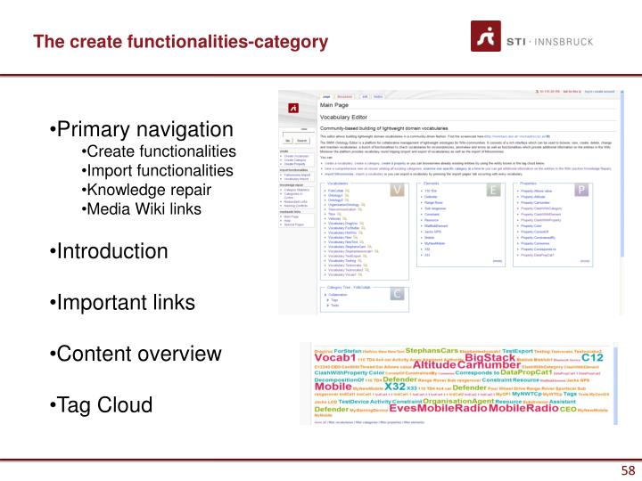 The create functionalities-category