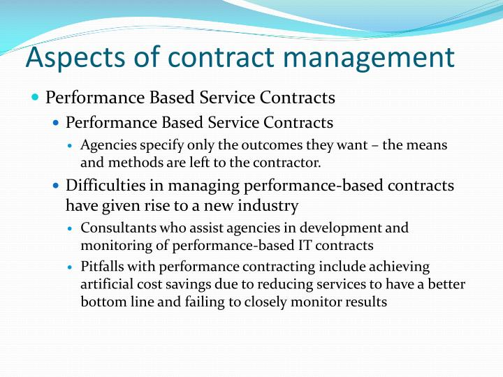Aspects of contract management