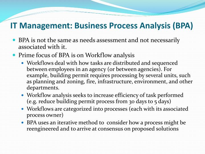 IT Management: Business Process Analysis (BPA)