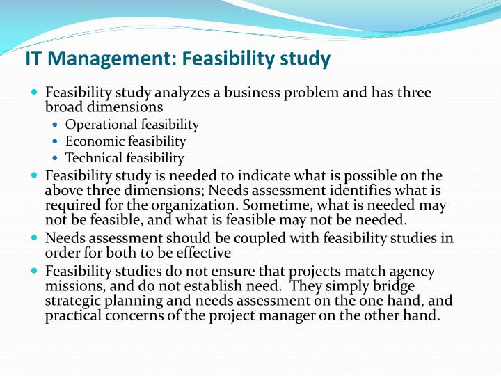 IT Management: Feasibility study