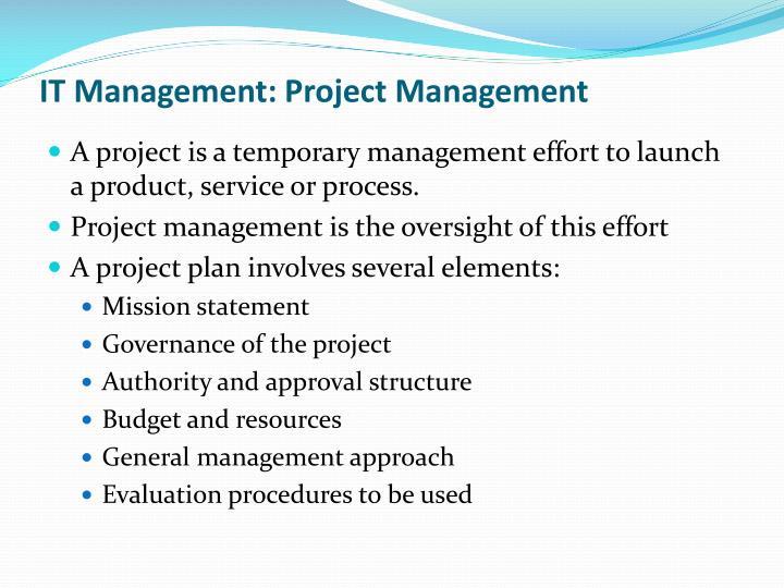IT Management: Project Management