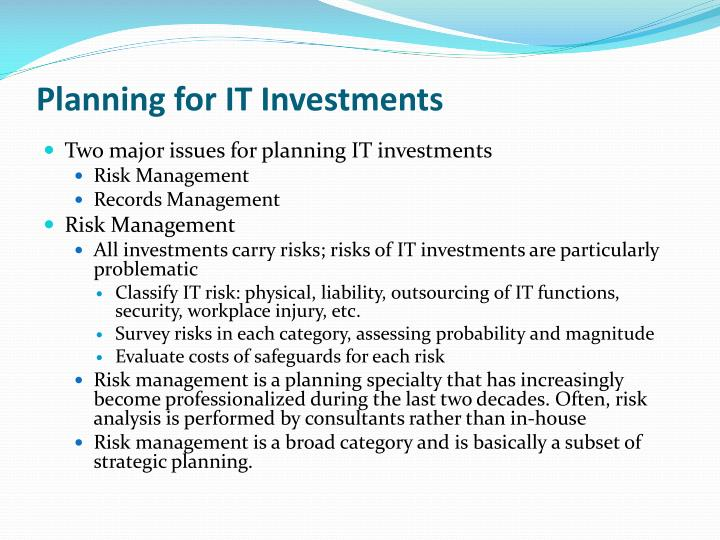 Planning for IT Investments