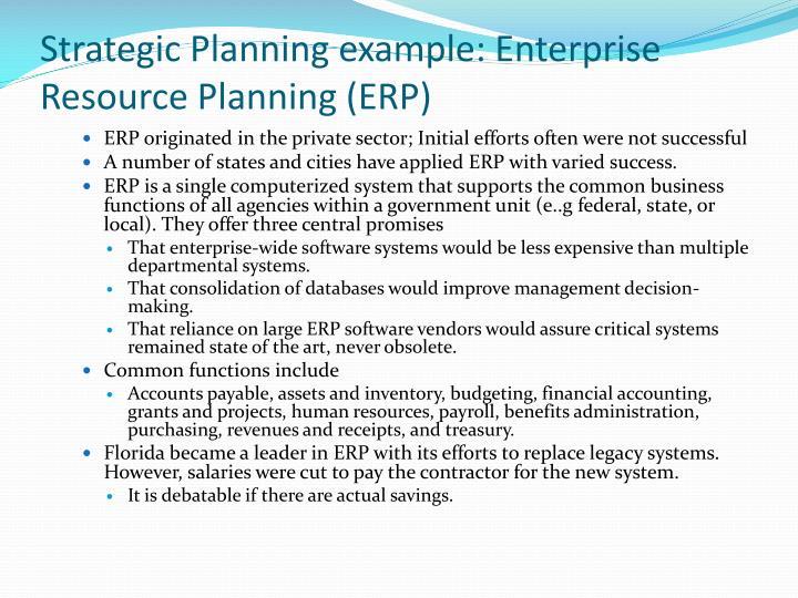 Strategic Planning example: Enterprise Resource Planning (ERP)