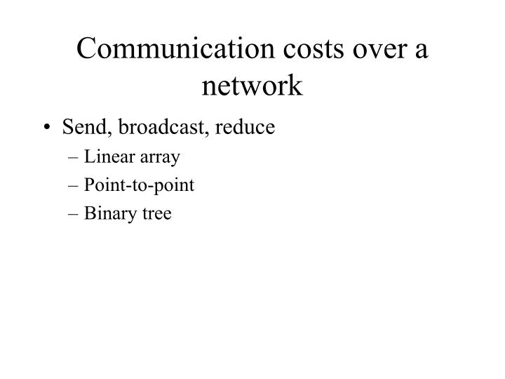 Communication costs over a network