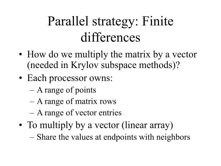 Parallel strategy: Finite differences