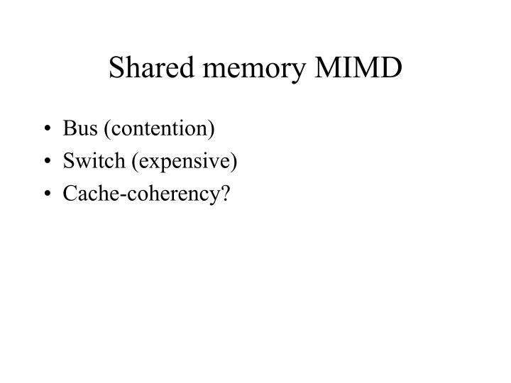 Shared memory MIMD