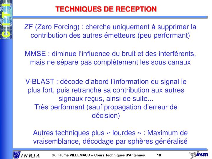 TECHNIQUES DE RECEPTION