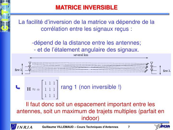 MATRICE INVERSIBLE