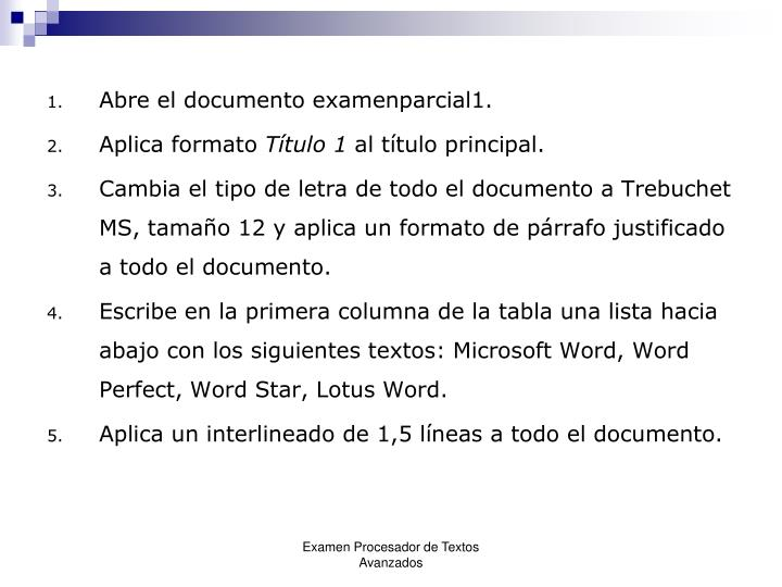 Abre el documento examenparcial1.