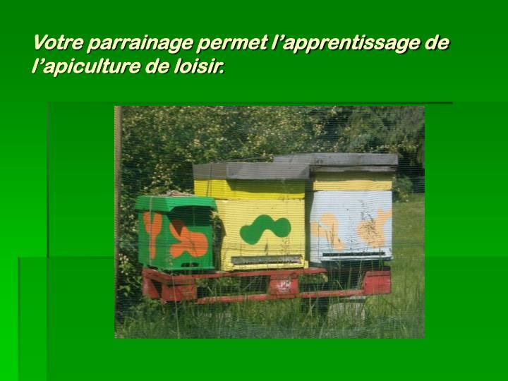 Votre parrainage permet l'apprentissage de l'apiculture de loisir.