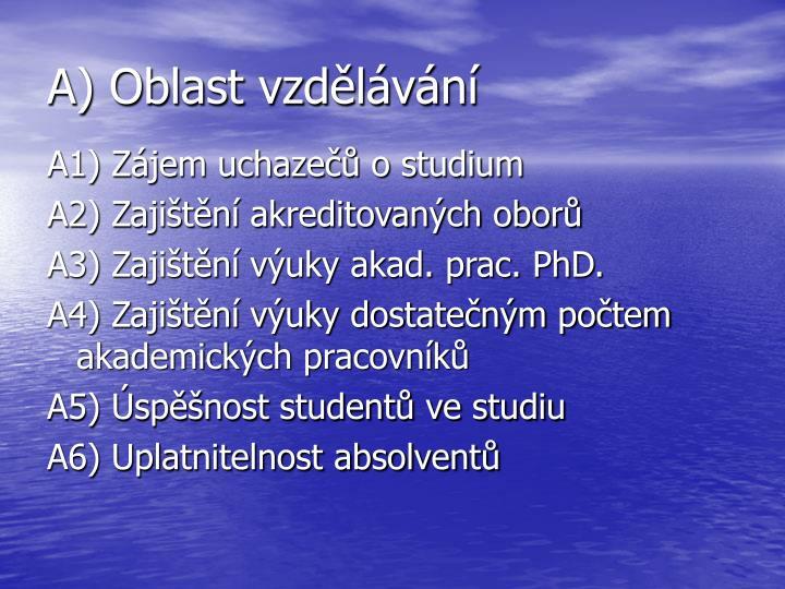 A) Oblast vzdělávání