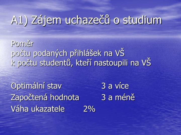 A1) Zájem uchazečů o studium