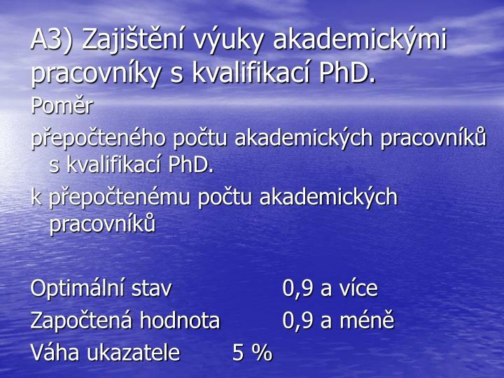 A3) Zajištění výuky akademickými pracovníky s kvalifikací PhD.