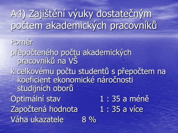 A4) Zajištění výuky dostatečným počtem akademických pracovníků