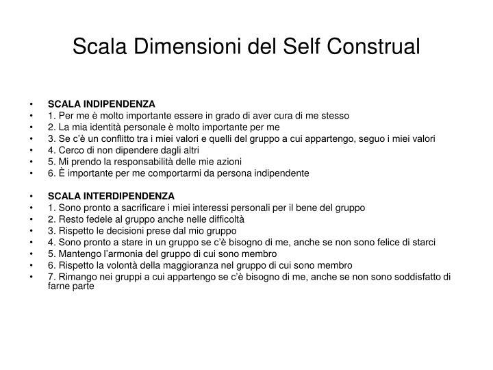 Scala Dimensioni del Self Construal