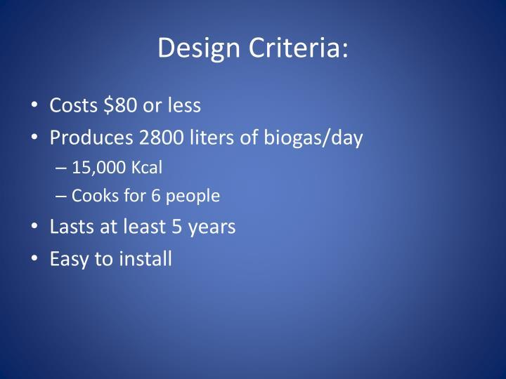 Design Criteria: