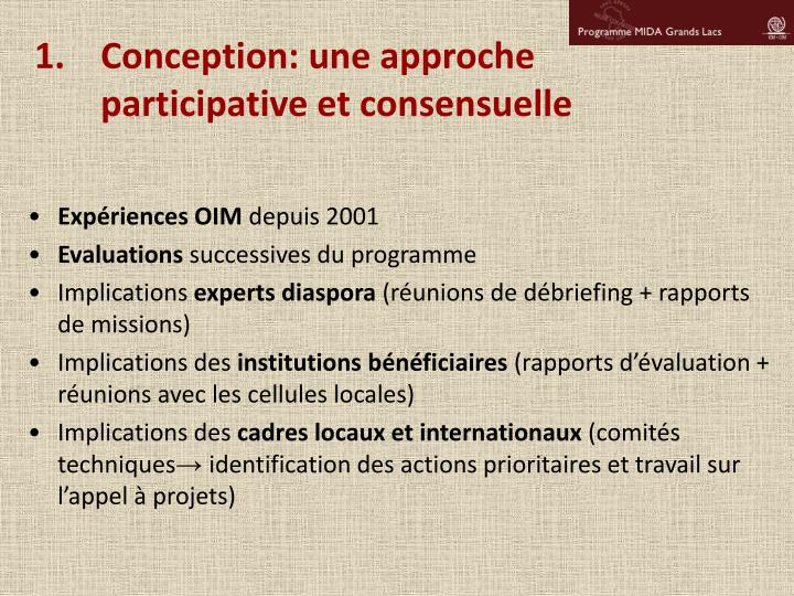 Conception: une approche participative et consensuelle